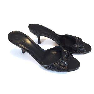 Cole Haan Black Woven Leather Kitten Heel Slides 8